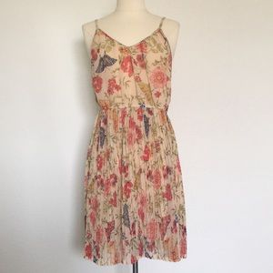 Angie spaghetti strap floral/butterfly dress